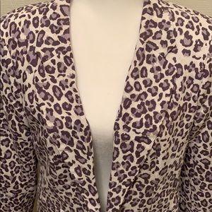 Rachel Zoe Snow Leopard Linen Blazer